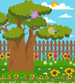 outdoor nature background bird icons colorful cartoon design