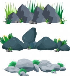 outdoor stones background rock grass icons multicolored design
