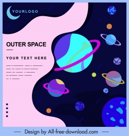 outer space background dark colorful planets decor