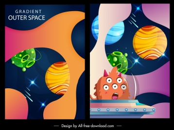 outer space backgrounds colorful modern planets spaceship decor