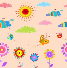 outside nature drawing design with colorful style