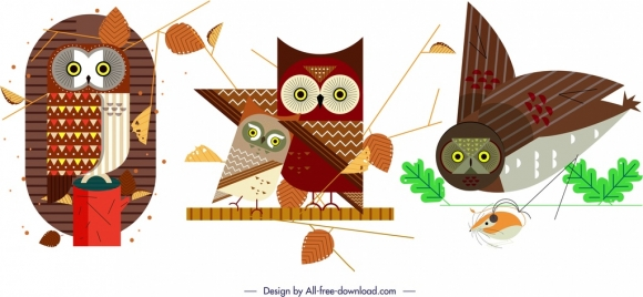 owl animal icons sets classical flat sketch