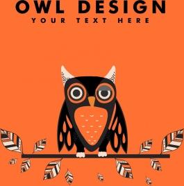 owl background orange design tribal feathers decoration