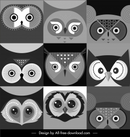owl face background templates black white flat design