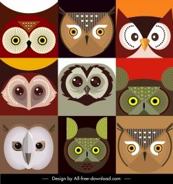 owl faces backgrounds colorful flat symmetric closeup design