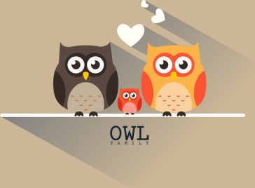 owl family background colorful flat design shadow decor