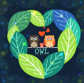owl family background multicolored leaf decoration cartoon design