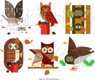 owl icons collection colorful classical flat sketch