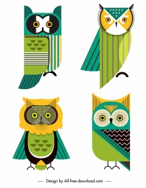 owl icons colorful flat sketch