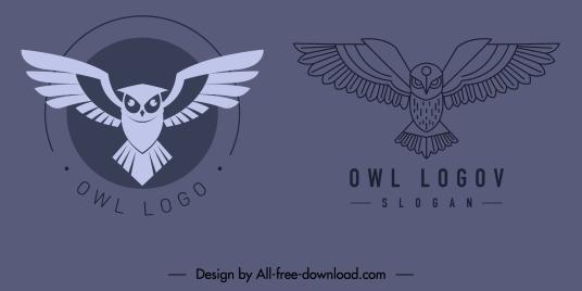 owl logo template classic flat sketch