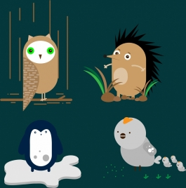 owl penguin chicken porcupine icons cute cartoon design