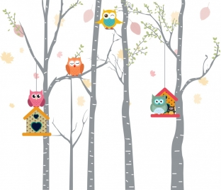 owls background colorful cartoon decoration bird nest icons