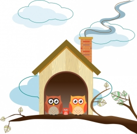 owls family background colorful cartoon sketch cottage icon
