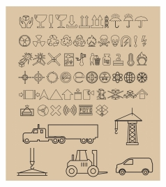 packing symbols collection with black white illustration
