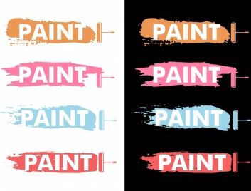 paint color sample icons colorful grunge design
