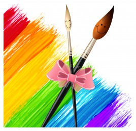 paintbrush drawing tool colorful background