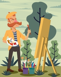 painter work drawing moustache man icon colored cartoon