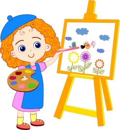 painting girl drawing colored cartoon cute girl icon