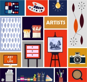 painting work design elements tools objects icons isolation