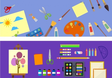 painting work theme sets colored tools icons decoration
