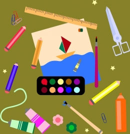 painting work tools icons collection