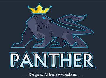 panther logotype powerful decor modern colored flat sketch