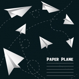 paper plane icons 3d design flying objects