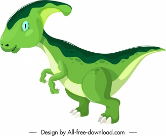 parasaurolophus dinosaur icon green sketch cartoon character