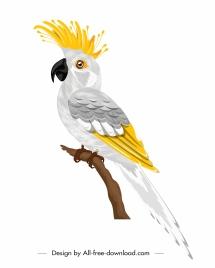 parrot bird icon white decor perching sketch