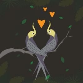 parrot couple background floating hearts decor plant vignette