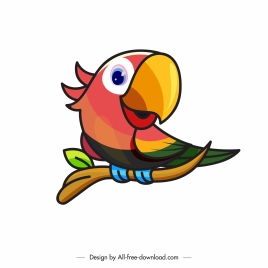 parrot icon colorful handdrawn design perching sketch