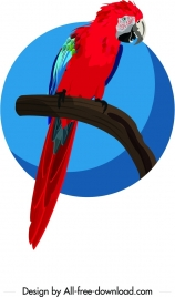 parrot icon painting dark red blue sketch