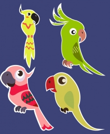 parrot icons collection colored flat design
