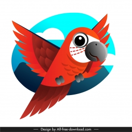 parrot painting flying sketch colorful flat design