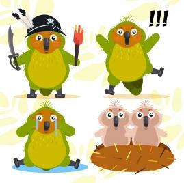 parrots icons cute stylized cartoon design
