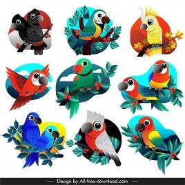 parrots species icons colorful flat sketch