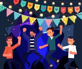 party background joyful people flag ribbon cartoon design