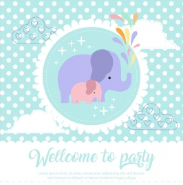party banner elephants icon multicolored flat decor