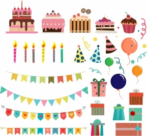 party design elements cakes candle ribbon gift icons