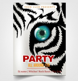 party flyer template tiger face decoration