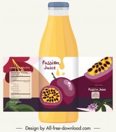 passion juice label template colorful handdrawn decor