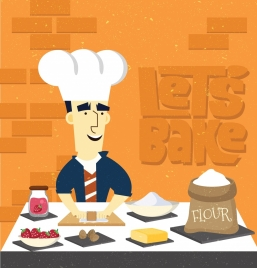 pastry background cook flour fruits icons classical design