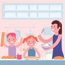 pastry drawing cute family icons classical cartoon design