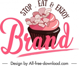 pastry label template cupcake texts decor classsic flat