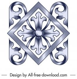 pattern design element elegant symmetrical floral decor