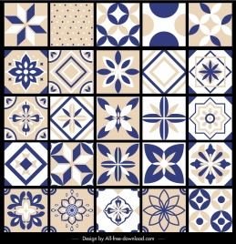 pattern design elements collection flat symmetrical retro shapes
