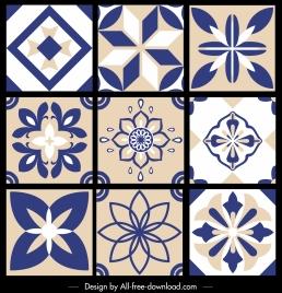 pattern elements templates flat retro symmetrical flora shapes