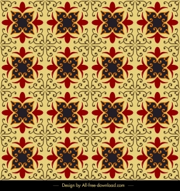 pattern template classical repeating symmetric floral sketch
