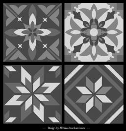 pattern templates black white retro symmetrical flora sketch