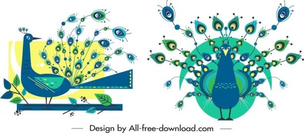 peacock icon templates flat blue decor